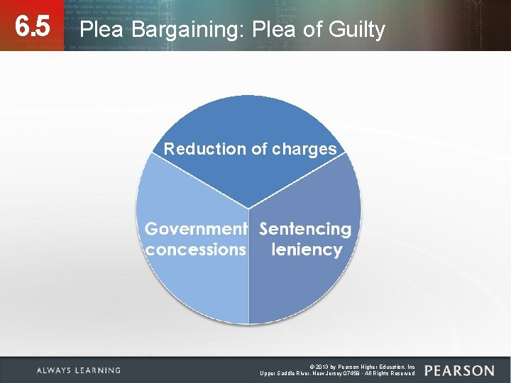 6. 5 Plea Bargaining: Plea of Guilty Reduction of charges © 2013 by Pearson