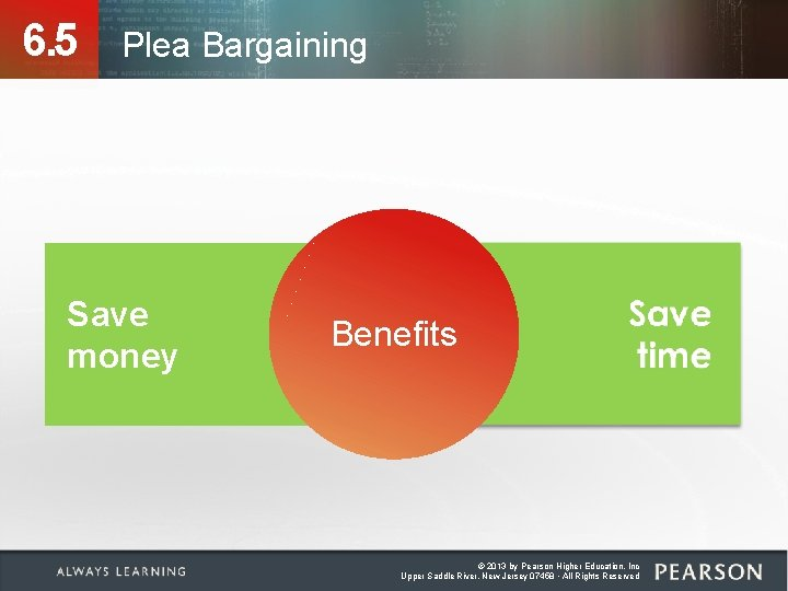 6. 5 Plea Bargaining Save money Benefits © 2013 by Pearson Higher Education, Inc