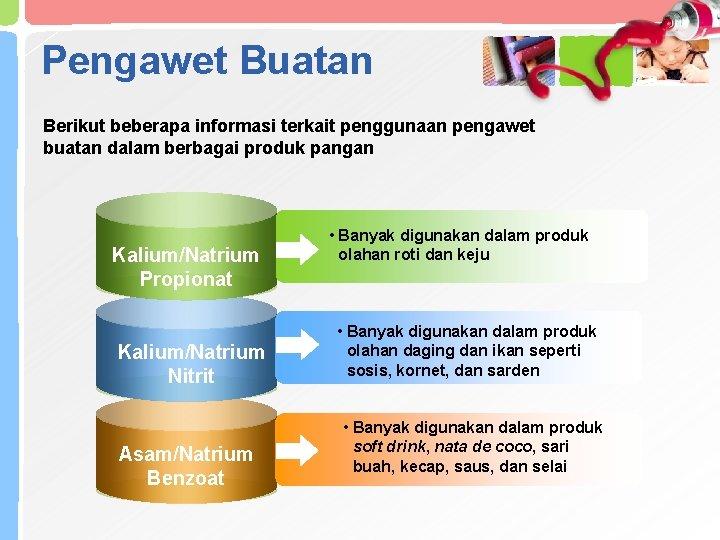 Pengawet Buatan Berikut beberapa informasi terkait penggunaan pengawet buatan dalam berbagai produk pangan Kalium/Natrium
