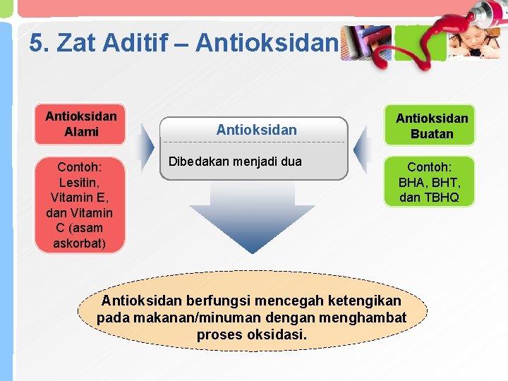 5. Zat Aditif – Antioksidan Alami Contoh: Lesitin, Vitamin E, dan Vitamin C (asam