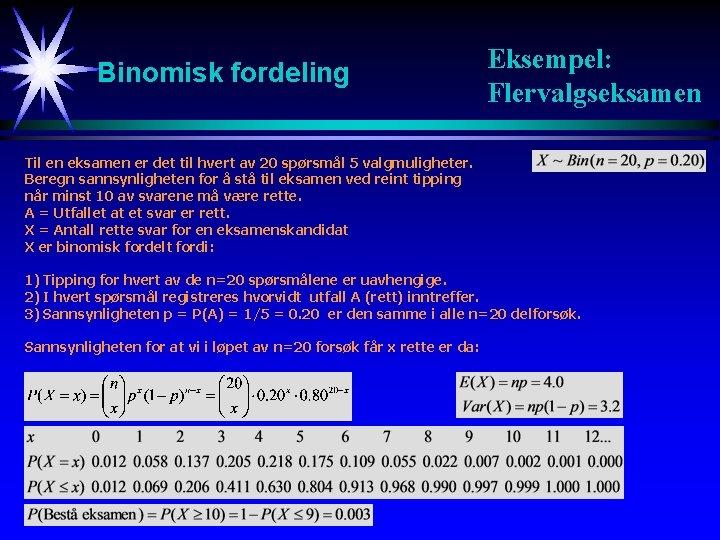 Binomisk fordeling Eksempel: Flervalgseksamen Til en eksamen er det til hvert av 20 spørsmål