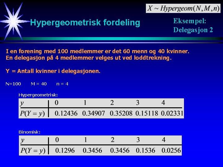 Hypergeometrisk fordeling Eksempel: Delegasjon 2 I en forening med 100 medlemmer er det 60