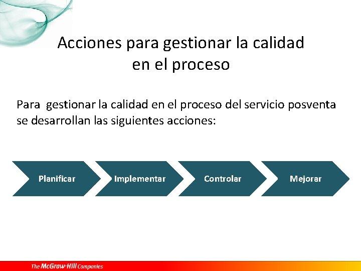 Acciones para gestionar la calidad en el proceso Para gestionar la calidad en el