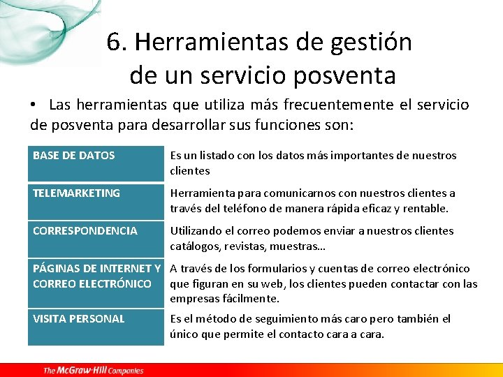 6. Herramientas de gestión de un servicio posventa • Las herramientas que utiliza más
