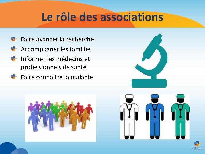 Le rôle des associations Faire avancer la recherche Accompagner les familles Informer les médecins
