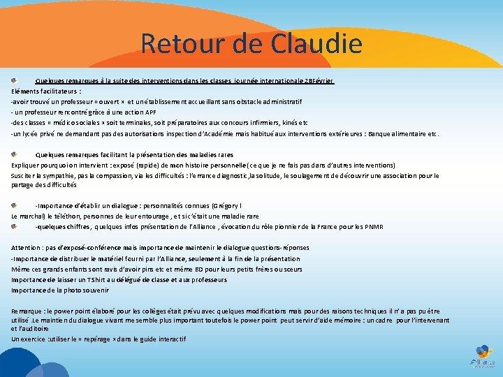 Retour de Claudie Quelques remarques à la suite des interventions dans les classes journée
