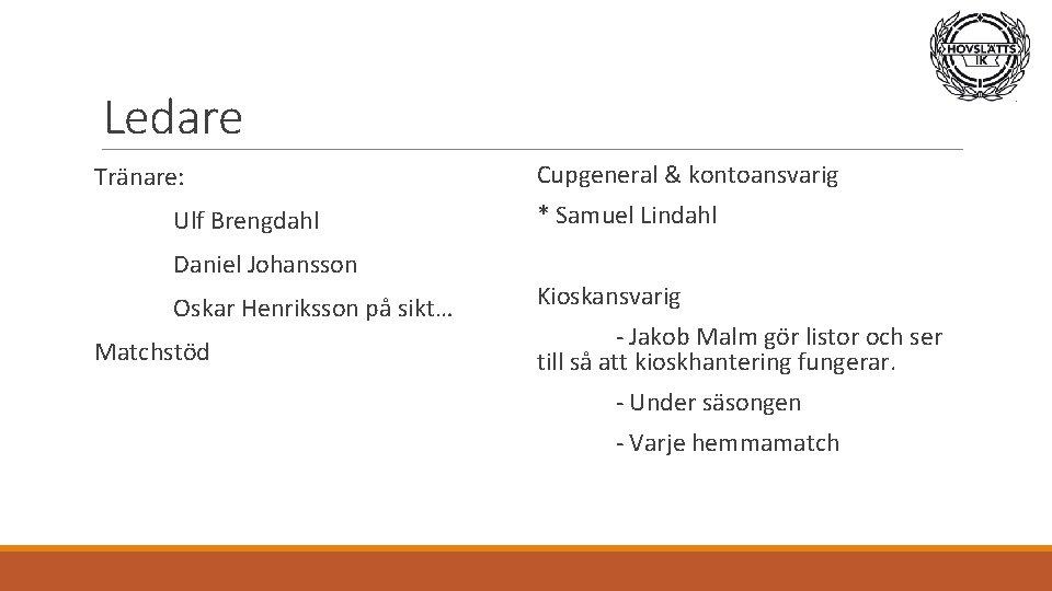 Ledare Tränare: Ulf Brengdahl Daniel Johansson Oskar Henriksson på sikt… Matchstöd Cupgeneral & kontoansvarig