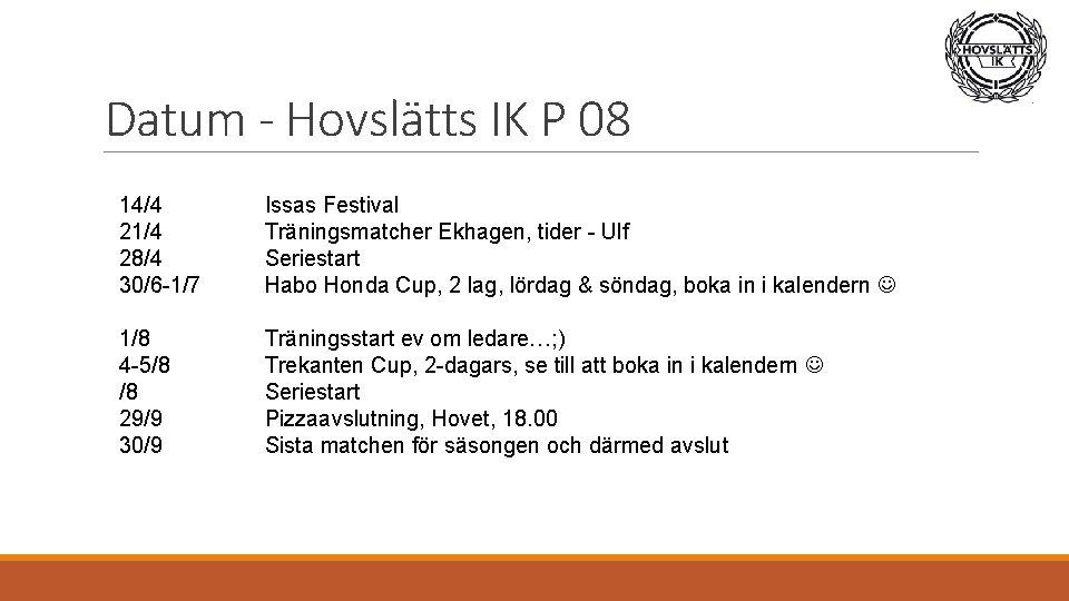 Datum - Hovslätts IK P 08 14/4 21/4 28/4 30/6 -1/7 Issas Festival Träningsmatcher
