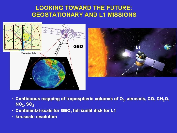 LOOKING TOWARD THE FUTURE: GEOSTATIONARY AND L 1 MISSIONS GEO L 1 • Continuous