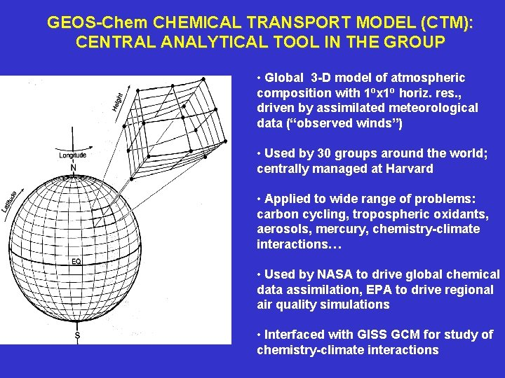 GEOS-Chem CHEMICAL TRANSPORT MODEL (CTM): CENTRAL ANALYTICAL TOOL IN THE GROUP • Global 3