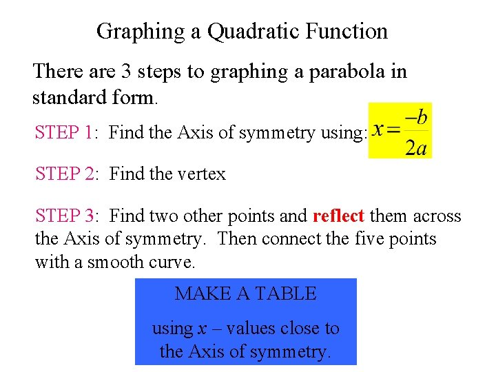 Graphing a Quadratic Function There are 3 steps to graphing a parabola in standard