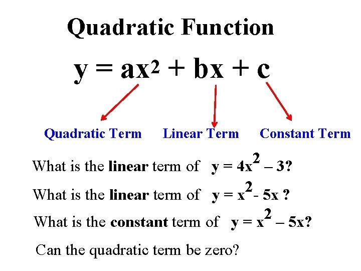 Quadratic Function y = ax 2 + bx + c Quadratic Term Linear Term