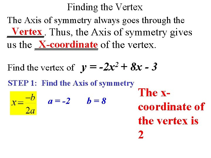 Finding the Vertex The Axis of symmetry always goes through the Vertex Thus, the