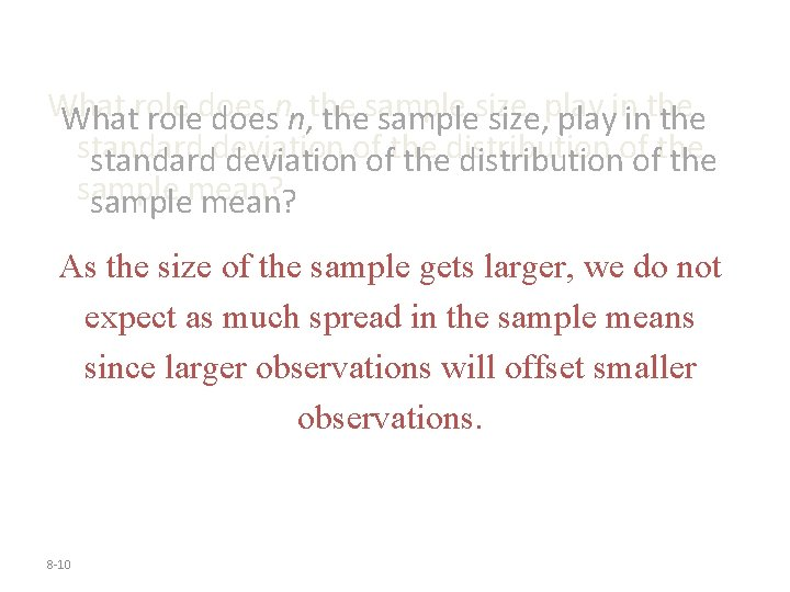 Whatroledoesn, n, thesamplesize, playininthe standarddeviationofofthe thedistributionofofthe samplemean? As the size of the sample gets