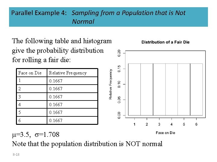 Parallel Example 4: Sampling from a Population that is Not Normal The following table
