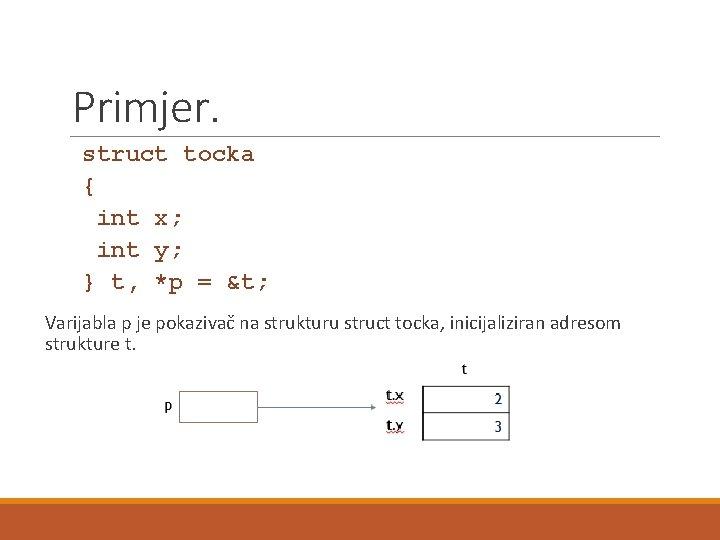 Primjer. struct tocka { int x; int y; } t, *p = &t; Varijabla