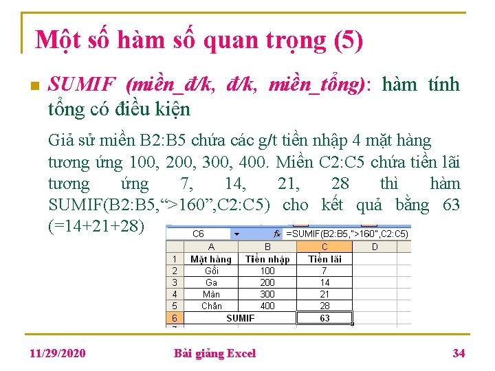 Một số hàm số quan trọng (5) n SUMIF (miền_đ/k, miền_tổng): hàm tính tổng