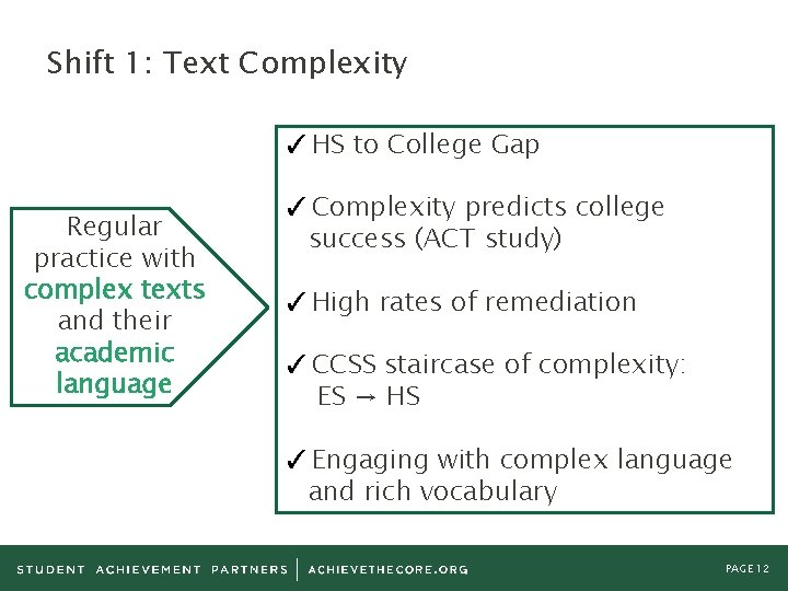 Shift 1: Text Complexity ✓ HS to College Gap Regular practice with complex texts