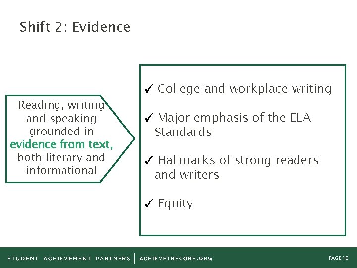 Shift 2: Evidence Reading, writing and speaking grounded in evidence from text, both literary