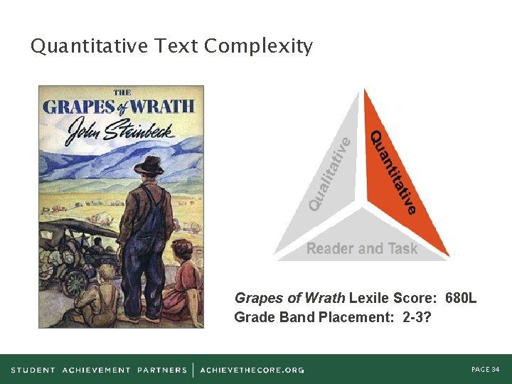 Quantitative Text Complexity Grapes of Wrath Lexile Score: 680 L Grade Band Placement: 2