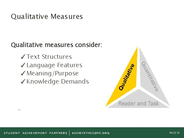 Qualitative Measures Qualitative measures consider: ✓Text Structures ✓Language Features ✓Meaning/Purpose ✓Knowledge Demands . .