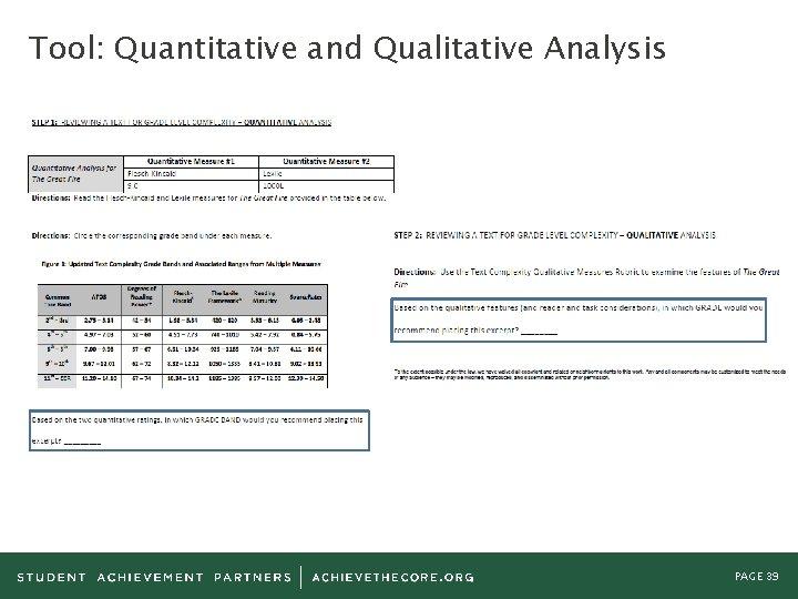 Tool: Quantitative and Qualitative Analysis PAGE 39
