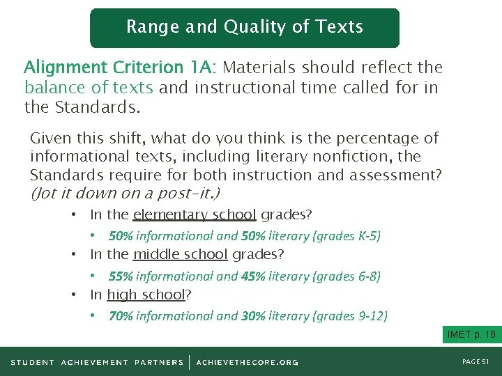 Range and Quality of Texts Alignment Criterion 1 A: Materials should reflect the balance