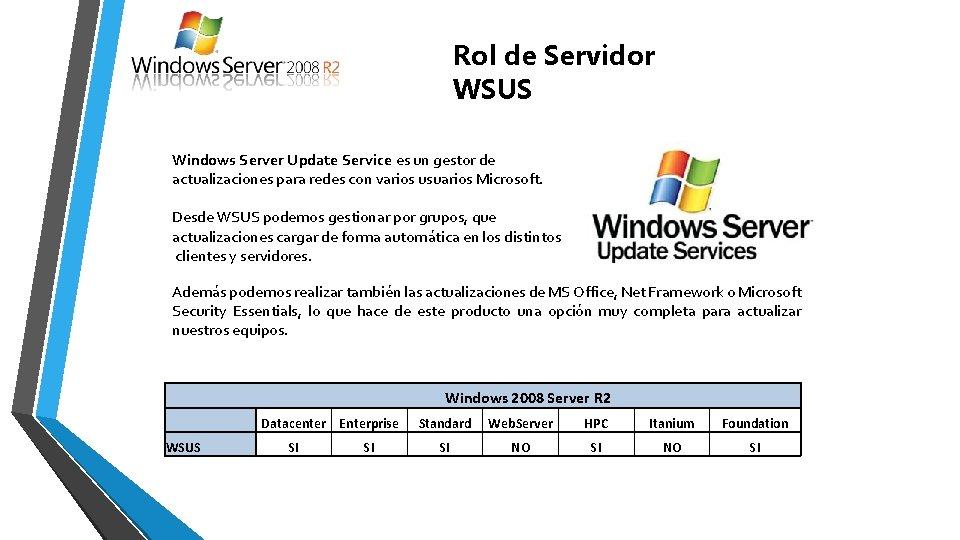 Rol de Servidor WSUS Windows Server Update Service es un gestor de actualizaciones para
