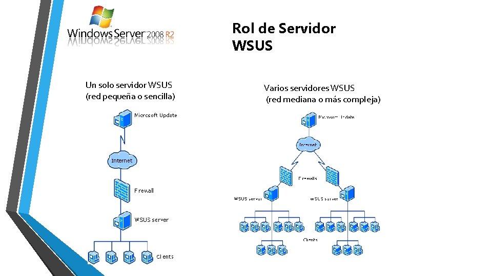 Rol de Servidor WSUS Un solo servidor WSUS (red pequeña o sencilla) Varios servidores