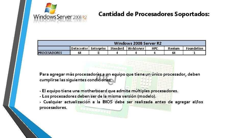 Cantidad de Procesadores Soportados: PROCESADORES Windows 2008 Server R 2 Datacenter Enterprise 64 8