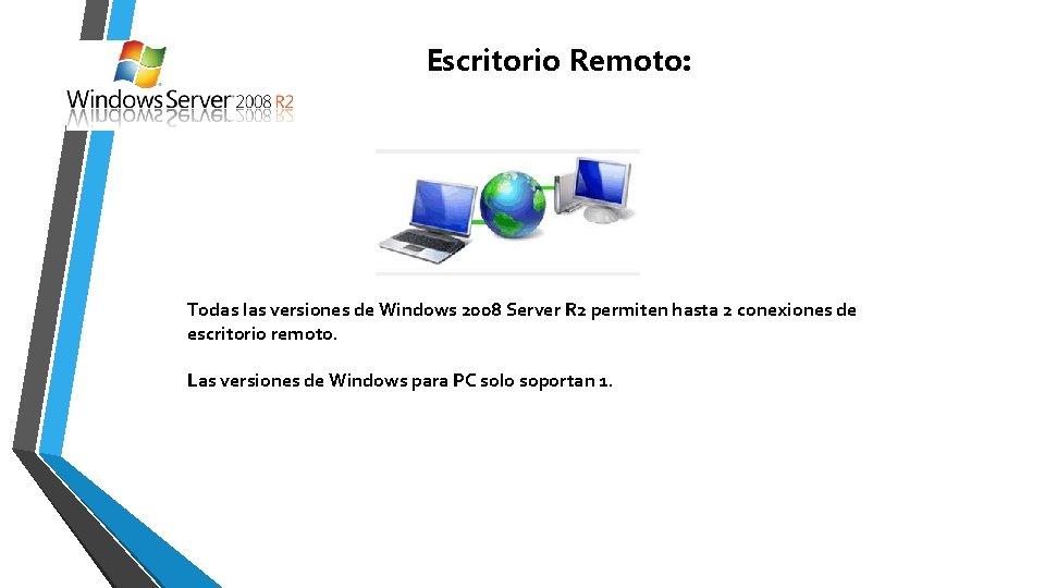 Escritorio Remoto: Todas las versiones de Windows 2008 Server R 2 permiten hasta 2