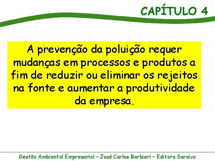 CAPÍTULO 4 A prevenção da poluição requer mudanças em processos e produtos a fim
