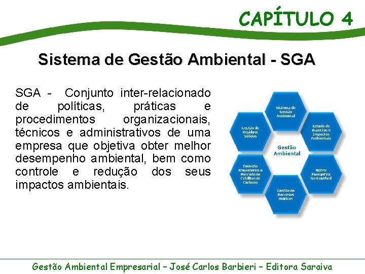 CAPÍTULO 4 Sistema de Gestão Ambiental - SGA - Conjunto inter-relacionado de políticas, práticas