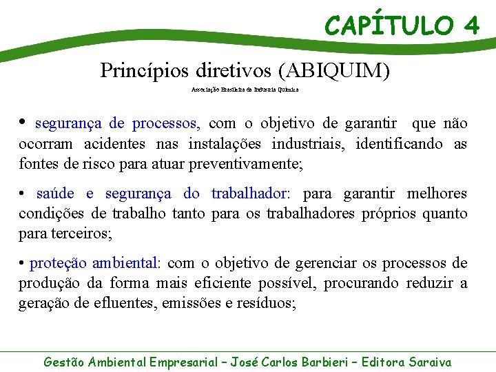 CAPÍTULO 4 Princípios diretivos (ABIQUIM) Associação Brasileira da Industria Química • segurança de processos,