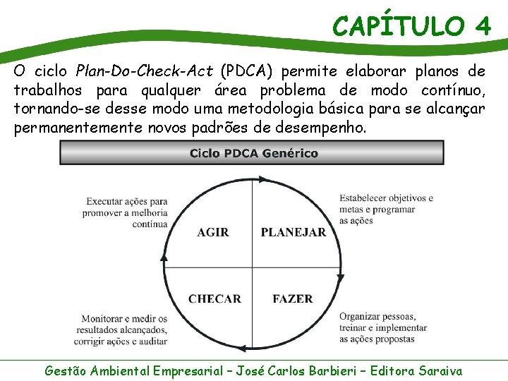 CAPÍTULO 4 O ciclo Plan-Do-Check-Act (PDCA) permite elaborar planos de trabalhos para qualquer área