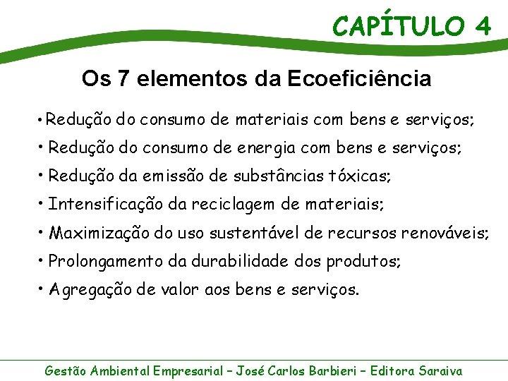 CAPÍTULO 4 Os 7 elementos da Ecoeficiência • Redução do consumo de materiais com