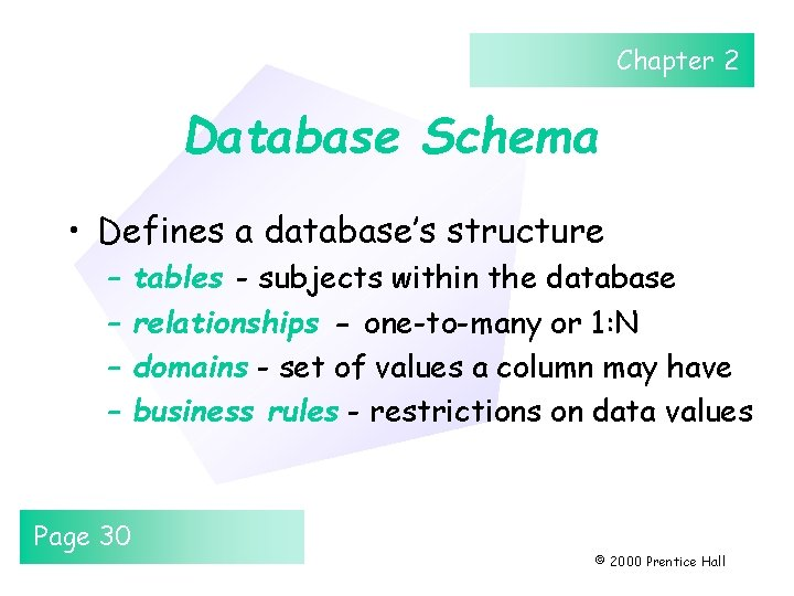Chapter 2 Database Schema • Defines a database's structure – – Page 30 tables