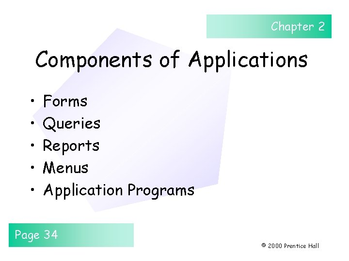 Chapter 2 Components of Applications • • • Forms Queries Reports Menus Application Programs