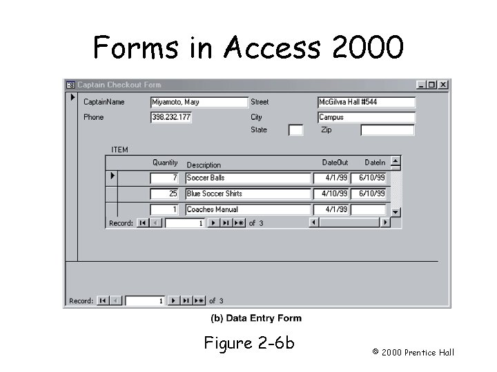 Forms in Access 2000 Page 34 Figure 2 -6 b © 2000 Prentice Hall