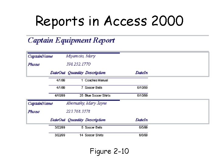Reports in Access 2000 Page 34 Figure 2 -10