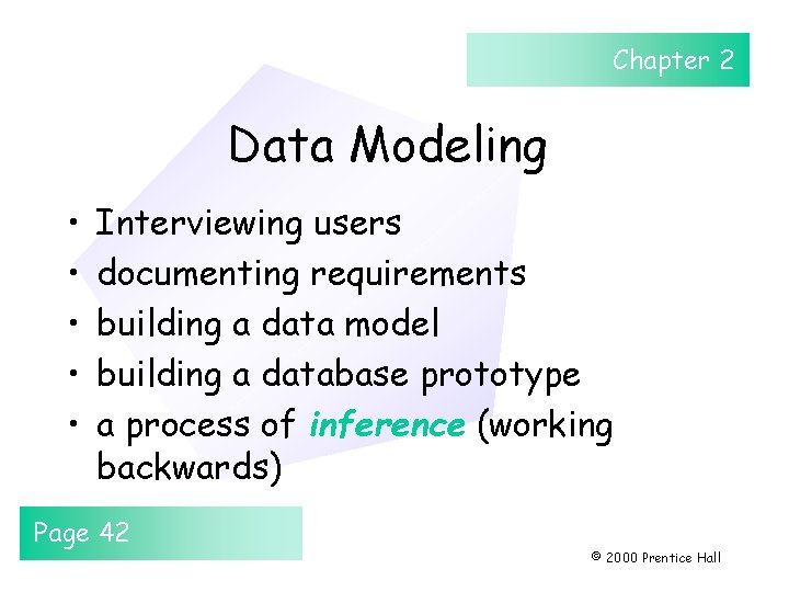 Chapter 2 Data Modeling • • • Interviewing users documenting requirements building a data