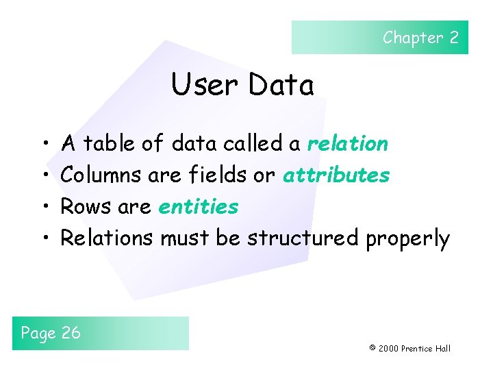 Chapter 2 User Data • • A table of data called a relation Columns