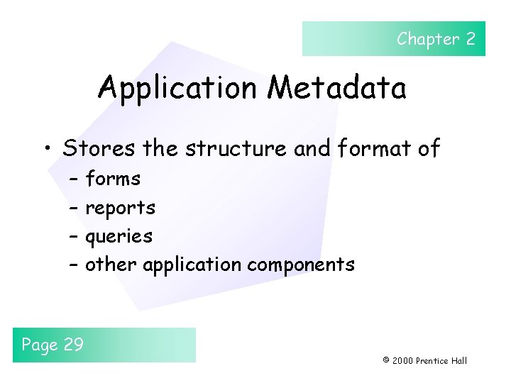 Chapter 2 Application Metadata • Stores the structure and format of – – Page