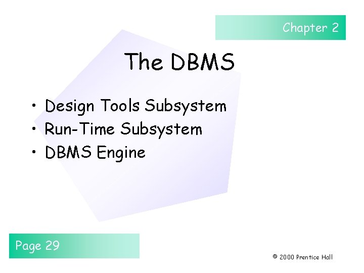 Chapter 2 The DBMS • Design Tools Subsystem • Run-Time Subsystem • DBMS Engine