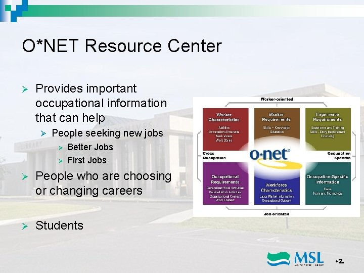 O*NET Resource Center Ø Provides important occupational information that can help Ø People seeking