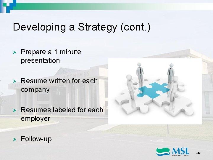 Developing a Strategy (cont. ) Ø Prepare a 1 minute presentation Ø Resume written