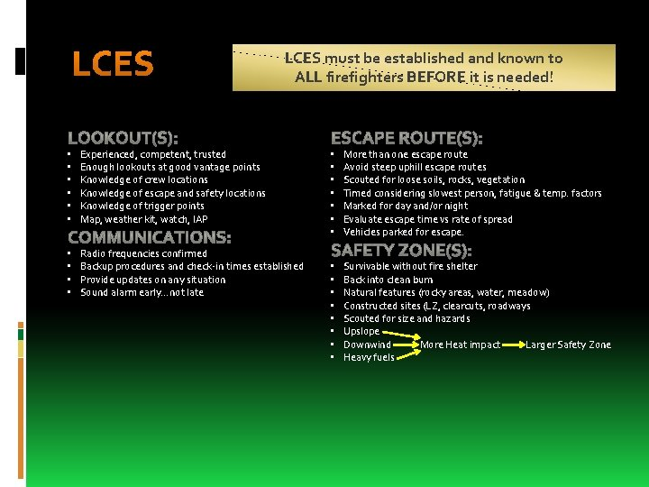LCES must be established and known to ALL firefighters BEFORE it is needed! •
