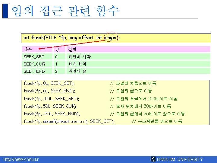 임의 접근 관련 함수 int fseek(FILE *fp, long offset, int origin); 상수 값 설명