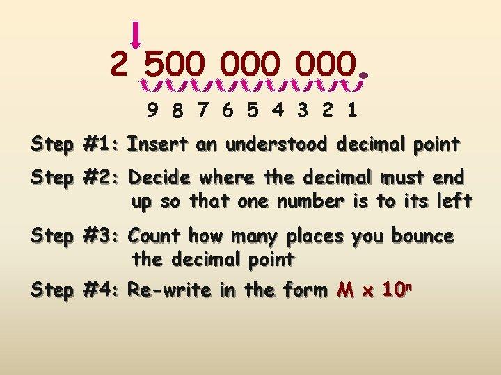 . 2 500 000 9 8 7 6 5 4 3 2 1 Step