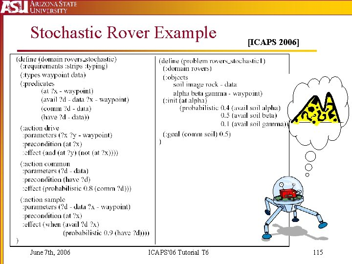 Stochastic Rover Example June 7 th, 2006 ICAPS'06 Tutorial T 6 [ICAPS 2006] 115